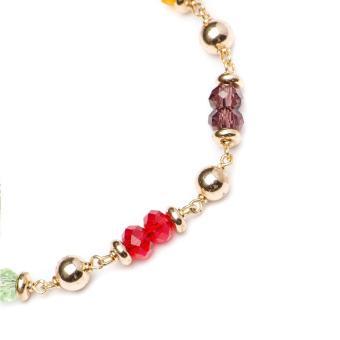 Glamorosa Duo Multi Gemstone Accent Charm Bracelet (Gold) - 3