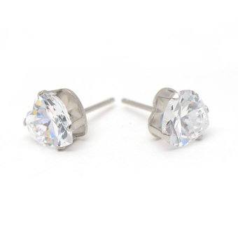 Glamorosa Huge Diamond Heart Shape Earrings (Silver) - 3