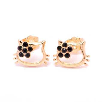 Glamorosa Kitty in Black Flower Tie Stud Earrings (Gold)