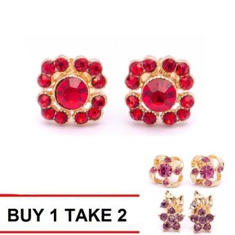 Glamorosa Party-Wear Red Floral Stud Earrings (Gold) Buy 1 Take 2 Assorted Earrings
