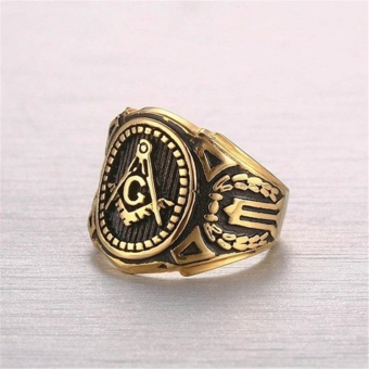 Gold Plated Vintage Freemason Symbol Masonic Ring for Men and Women- intl - 3