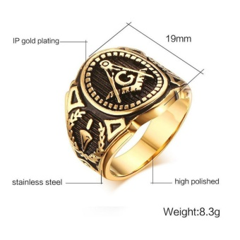 Gold Plated Vintage Freemason Symbol Masonic Ring for Men and Women- intl - 5