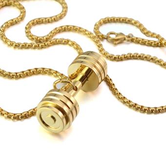 Gold Tone Stainless Steel Fitness Dumbbell Barbell Gym CharmPendant Necklace For Men Women - intl - 4