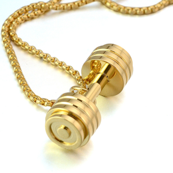Gold Tone Stainless Steel Fitness Dumbbell Barbell Gym CharmPendant Necklace For Men Women - intl - 3