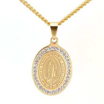 Gold Tone Stainless Steel Oval Crystals Our Lady of Guadalupe Saint Mary Pendant Necklace Curb Chain 60CM Long - Intl