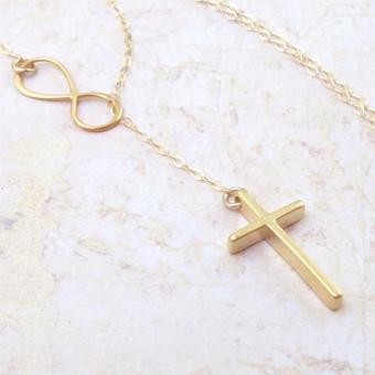Golden Infinity Cross Necklace - 3