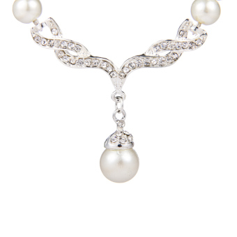 Graceful Ladies' Women' s Alloy Wedding Party Jewelry Set with Pearl Rhinestone Including Necklace Earrings (Intl)