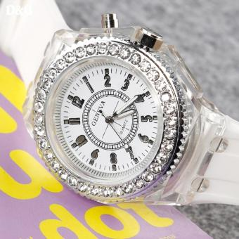 Greatnes D&D Luminous Rhinestone Couple Women's White Silica Gel Strap Watch MS-1