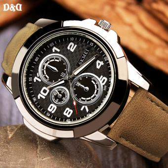 Greatnes D&D Men's Brown/Black Leather Strap Military Quartz Watch C-XY-3999