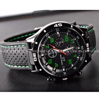 GT Men's Sports Racing Chronograph Style Black Silicone Strap Watch (Green) - 4