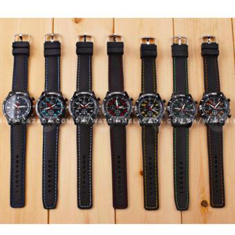 GT Men's Sports Racing White Rim Chronograph Style Black Silicone Strap Watch (Yellow) - 3