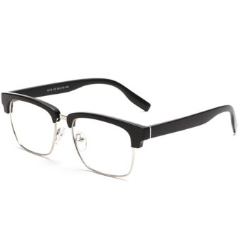Half Frame Eyeglasses Vintage Eyeglasses Frames for Women BrandFashion Unisex Eye Glasses Frames for Men Plain Glass H9006-02(Matte Black)