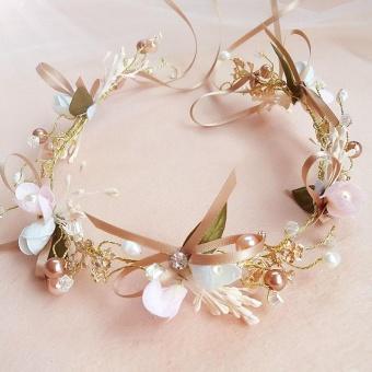Handmade Lace Bowknot Headbands Lace Flower Pearl Bridal TiarasHair Accessories Hair Jewelry Wedding Bowknot Head Band - intl - 2