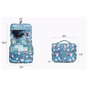 Hanging Toiletry Cosmetic Pouch Travel Bag Organizer (Navy Polka Dot) - 2