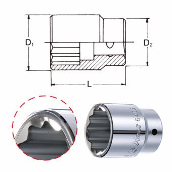 """Hans Tools 6402M-52mm 3/4"""" Drive 12 Points Socket (Silver) - picture 2"""