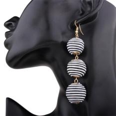 (HAPPY)A Pair of Bohemian Disposable Waterproof Wax String Balls Earrings Dangle Studs Ethnic