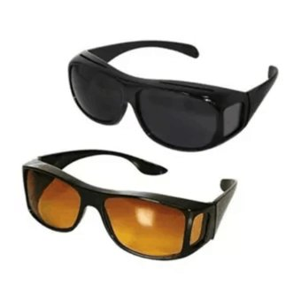 HD Vision Driving Anti Glare Wrap Around Sunglasses 1 Set 2 Pcs(Black+Brown) - intl