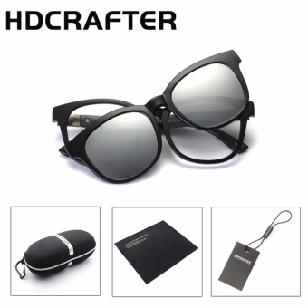HDCRAFTER Fashion Designer Square Reading UV400 TR90 RemovableEyewear Frame + Polarized Sunglasses Women/Men Clips Glasses - intl