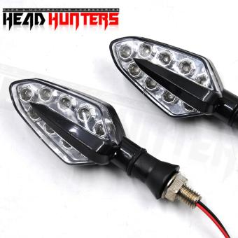 Head Hunters Motorcycle Turn Indicator / Signal Light Amber Blinker(Black)