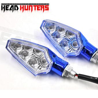 Head Hunters Motorcycle Turn Indicator / Signal Light Amber Blinker(Blue)