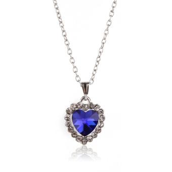 Heart of Ocean Charm Dark Blue Crystal Rhinestone Necklace Ring Earring Set (Intl)