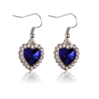 Heart of Ocean Charm Dark Blue Crystal Rhinestone Necklace Ring Earring Set (Intl) - picture 2