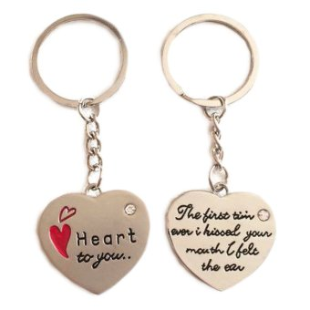 Heart Shape Metal Couple Key Chain Key Ring Valentine Gift
