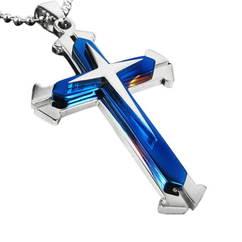 Hequ 3 Layer Split The Cross Pendant Titanium Steel Necklaces (Blue)