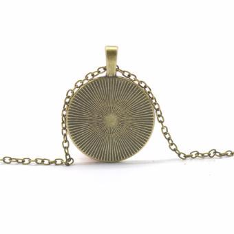 Hequ Bronze Silver Round glass Necklace Steampunk Drama GravityFalls Mysteries BILL CIPHER WHEEL Time Gems Pendant Bronze - intl - 2