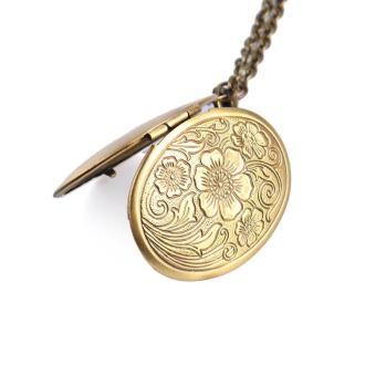 High Quality Store New Bronze Flower Pattern Photo Frame LocketPendant (Gold) - 5