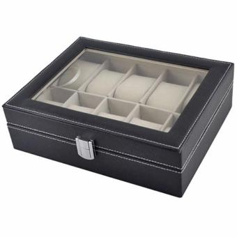 High Quality Store New Leather 10 Slots Wrist Watch Display BoxStorage Holder Organizer Windowed Case - 5