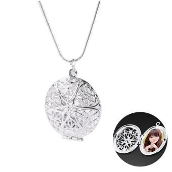High Quality Store New Woman Silver Plated Round Hollow PhotoPicture Locket Pendant Necklace Chain