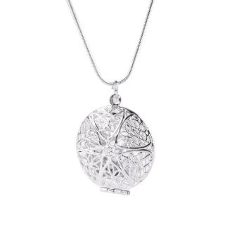 High Quality Store New Woman Silver Plated Round Hollow PhotoPicture Locket Pendant Necklace Chain - 4