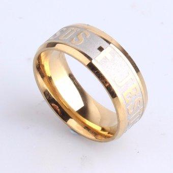 High Quality Titanium Steel Jesus Cross Letter Bible Wedding BandRing Men Women - intl - 3