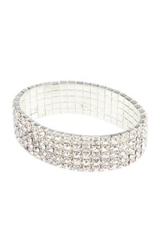 HKS Fashion Clear Rhinestone Stretch Bracelet Bangle 5 Level Bling Jewelry - Intl - picture 2