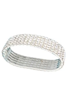 HKS Fashion Clear Rhinestone Stretch Bracelet Bangle 5 Level Bling Jewelry - Intl