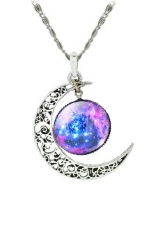 HKS Galaxy Crescent Moon Pendant Necklace (Purple) - Intl