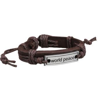 HKS Girl Boy Braid Bracelet Unisex String Band Bangle World Peace Plate - Intl