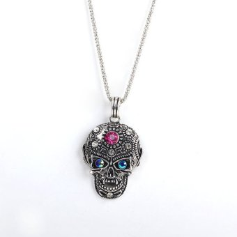 HKS Girl Boy Cool Skull Pendant Necklace Glittering Rhinestone Antique Silver - Intl - picture 2