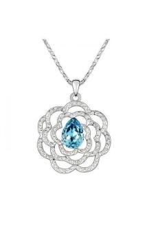 HKS HKS2752Qs Rich Bloom Austria Crystal Necklace Ocean Blue - Intl
