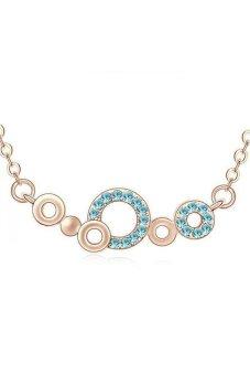 HKS HKS80262QS Magic Bubble Austria Crystal Necklace Ocean Blue Rose Gold - Intl