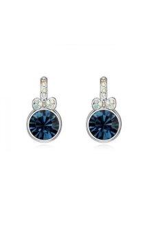 HKS HKS82913QS Googling Lady Austria Crystal Earrings Blue Black - Intl