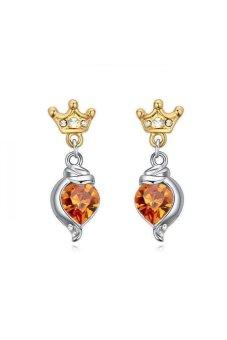 HKS HKS87074Qs Gold Crown Austria Crystal Earrings Citrine - Intl