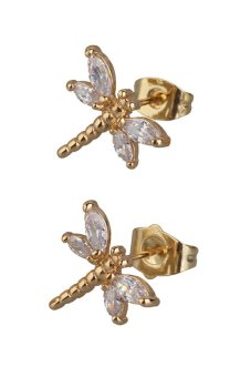 HKS New Fashion 18K Gold Plated Ear Stud Lovely Dragonfly Crystal Stud Earrings - Intl - picture 2