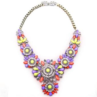 HKS Rainbow Flower Choker Chunky Shourouk Slap-up Necklace Purple+Yellow+Red - Intl