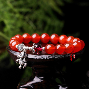 HKS Retro natural crystal red agate bracelet male and female models 925 sterling silver beads transfer immediately fortune Korean bracelets - bead diameter 8MM - Intl