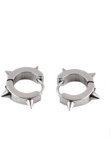 HKS Rivet Stainless Steel Hoop Circle Earrings - Silver - Intl
