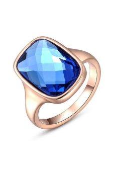 HKS S and F Luxury Blue Diamond Rose Gold Finger Ring (Rose Gold) - Intl