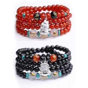 HKS shipping natural red agate beads bracelet triple mascot zodiac circle 925 silver jewelry bracelets men and women - is a horse (agate color message) - Intl