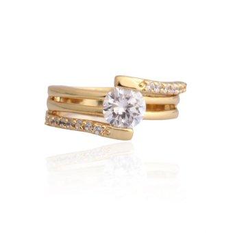 HKS Unique 3-layer Design 18K Gold Filled Zircon Crystal Wedding Ring US 6# - Intl